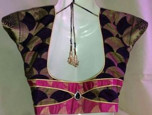 49. Royal Blue Blouse with Pink Patch work
