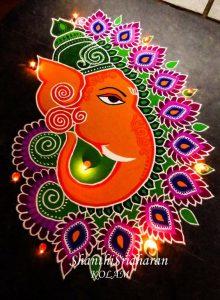 Beautiful Ganesh face rangoli