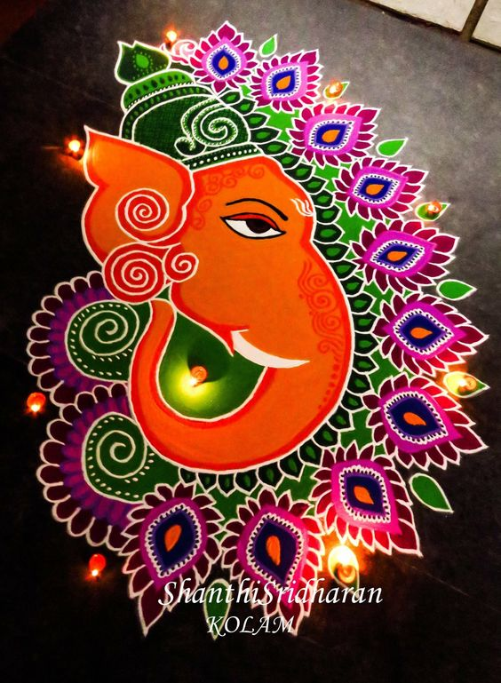 Beautiful Ganesh face rangoli