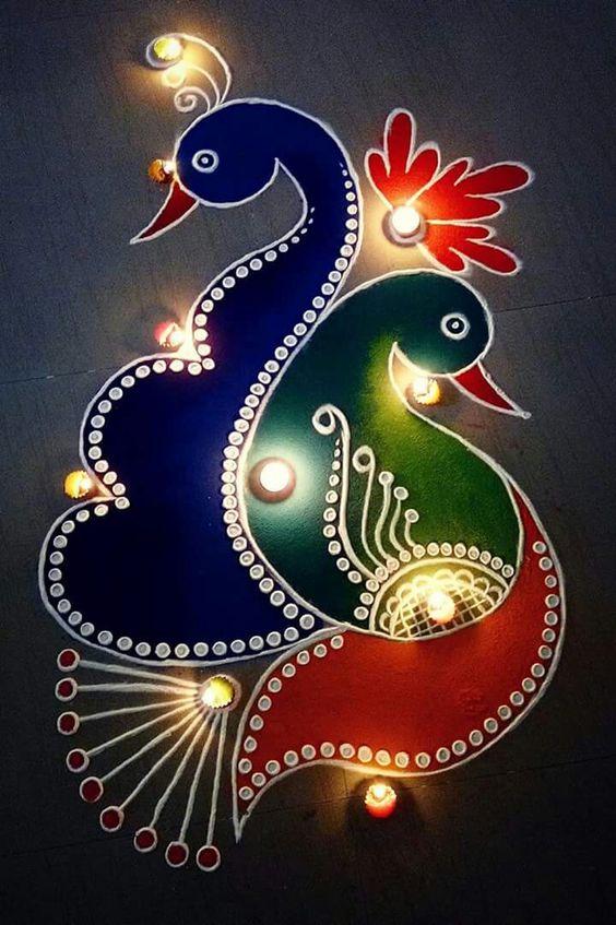 Peacock Rangoli 5