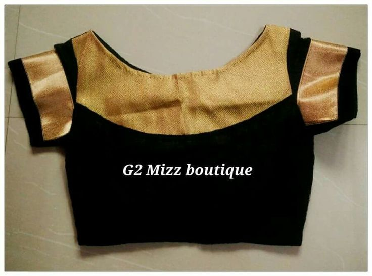 6. Black Blouse with golden boat neck patch work