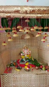 Ganesha decoration with palm tree leaves house