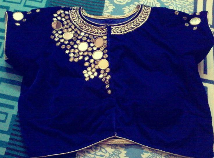 Trendy mirror work blouse