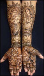 7. Radha Krishna with Lotus Bridal Mehndi