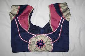 9. Royal Blue Blouse with Pink Patch Work