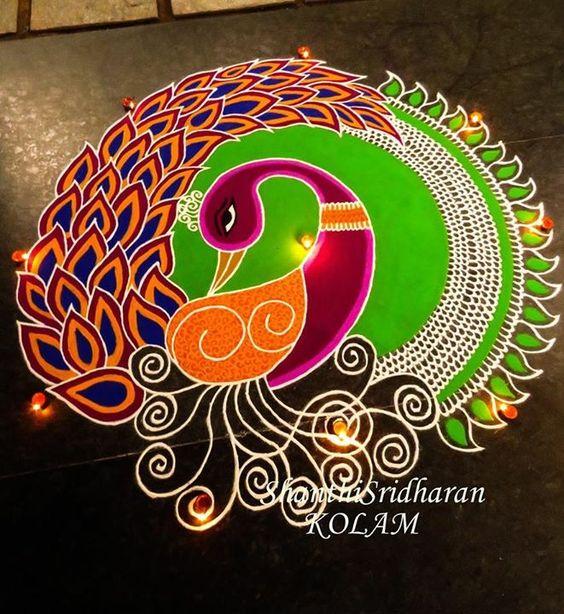 Spiral Peacock Rangoli