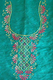 1. Green salwar with Yellow and Pink Thread Embroidery
