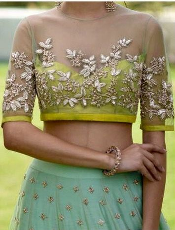 1. Embroidery sheer blouse for lehenga