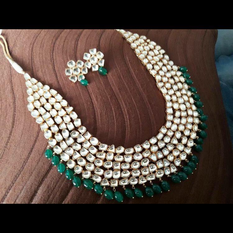 1.Five Strip Kundan with Emerald Neck jewelry