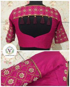 Trendy silk blouse with beautiful tassels