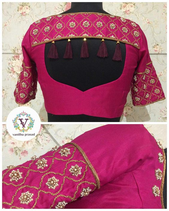 Trendy silk blouse with beautiful tassels