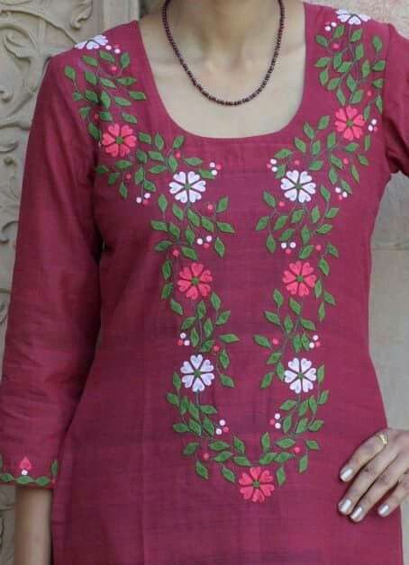 10. Dark Pink top with white,pink flowers and leaves Embroidery design
