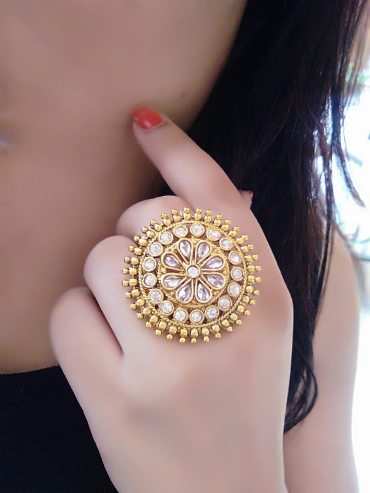 10.Kundan Inspired Ring