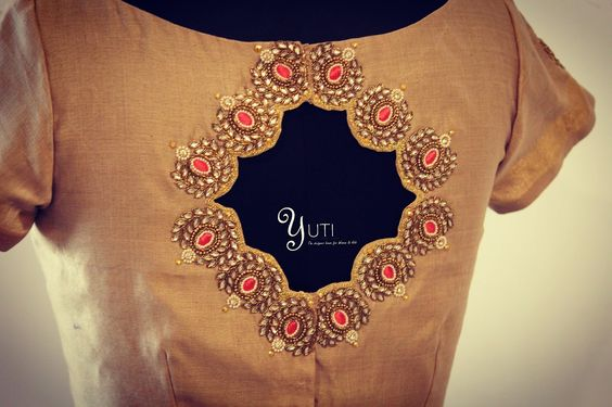 11. Designer silk Beige blouse with motifs
