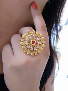 11.White and pink kundan ring