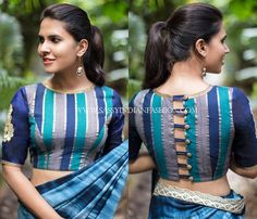 12. Blouse back neck designs for pattu saree