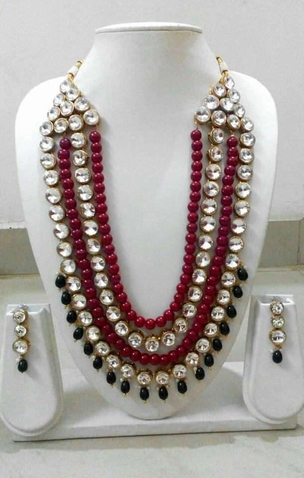 12.Red bead and kundan neck set