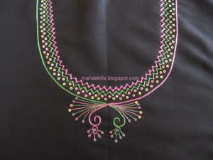 15. Black top with Pink and Green Embroidery Design
