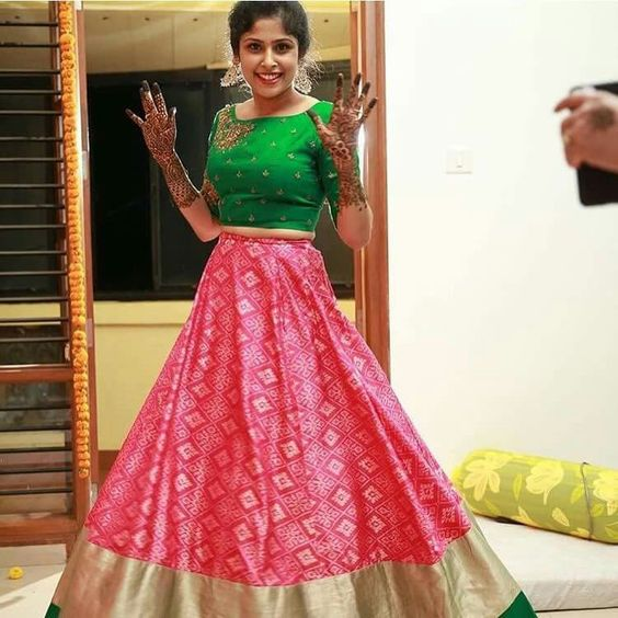 15.Green short Lehnga blouse