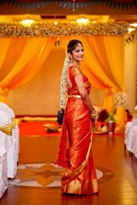 16. Round Design in Red kancipuram saree