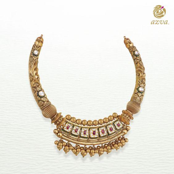 16.Golden beads with Kundan neck set