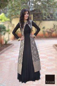 17.Long Black silver coat chudi top
