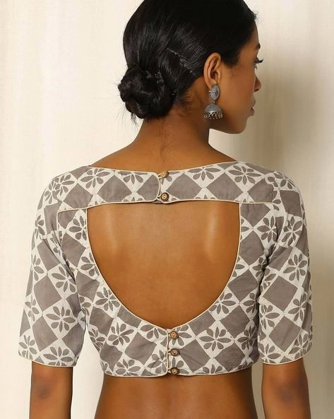 18. Closed U blouse back neck