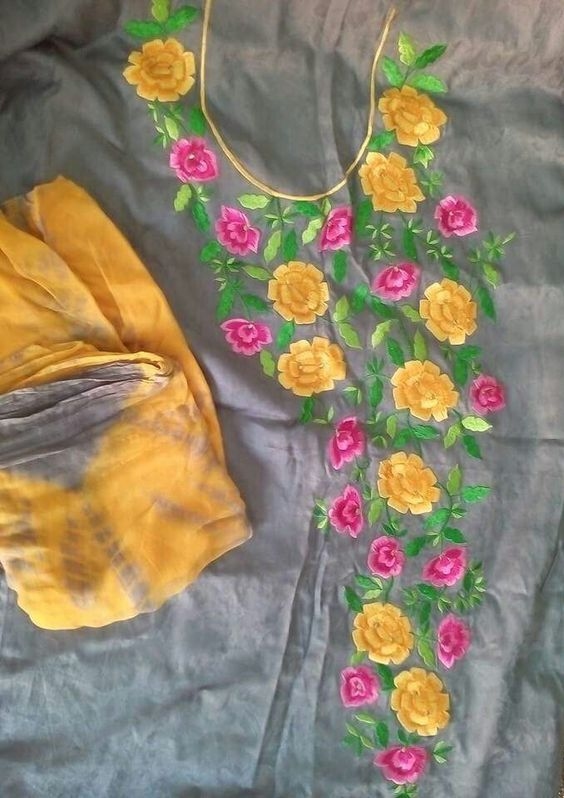 18. Grey top with pink and yellow Flower Embroidery design