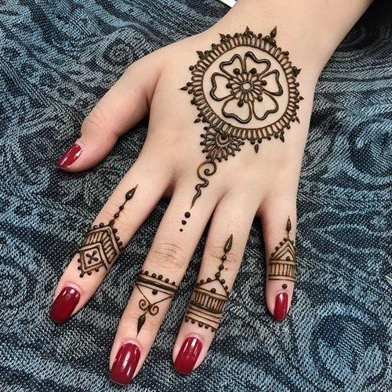 18. Round flower back hand design