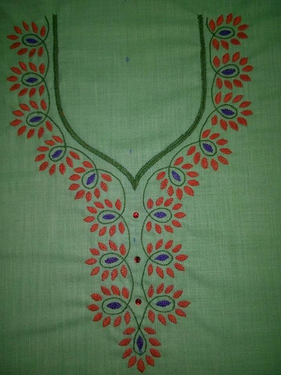 19. Green top with orange thilagam embroidery design