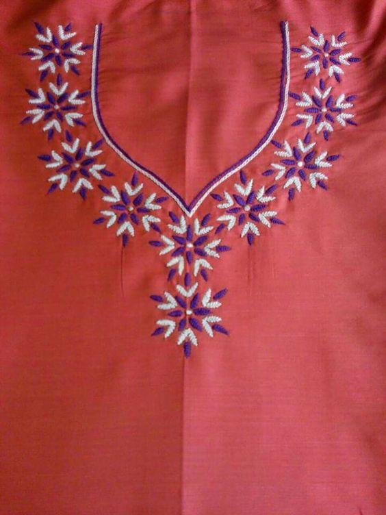 20. Orange with Blue and white Embroidery design