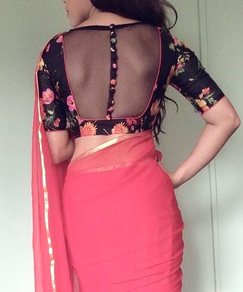 24. Sheer design floral back neck design