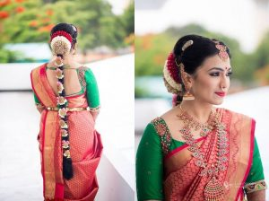 23. Red silk saree with contrast Green Blouse