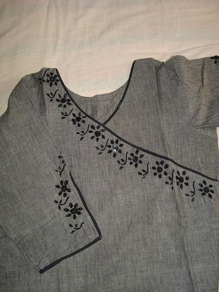 22. Grey top with Black Embroidery design