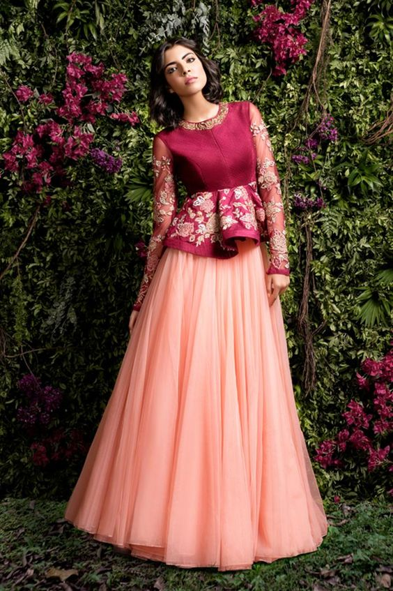 26.Long sleeve gown model lehnga blouse