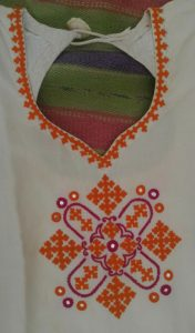 24.White Top with Orange Thread Embroidery and mirror work