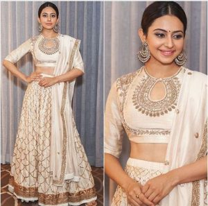 27. White round neck lehnga blouse