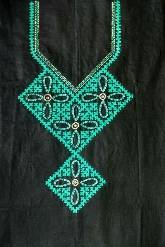 26.Black Top with green Embroidery work