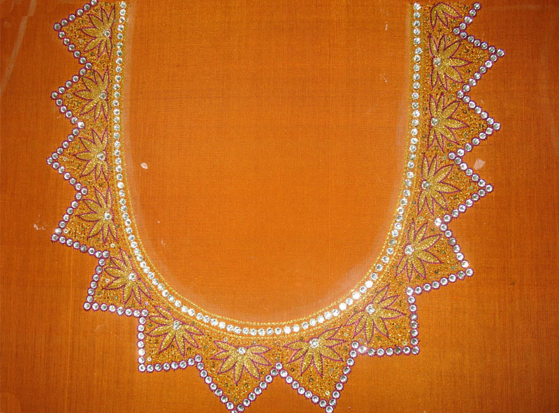 4.Yellow Top with Red Embroidery and stone neck design