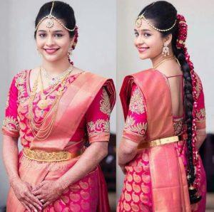 3. Red Silk Saree with Golden Mango Design