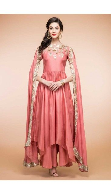 3.Peach color silk Anarkali with different bottom cut