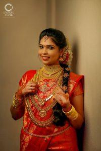 34. Red silk saree for kerala bride