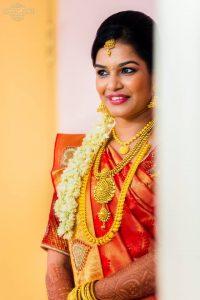 35. Red silk saree with heartin design