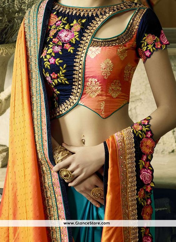 4. Trendy neck blouse for Lehenga
