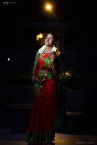 41.Red silk saree with green border