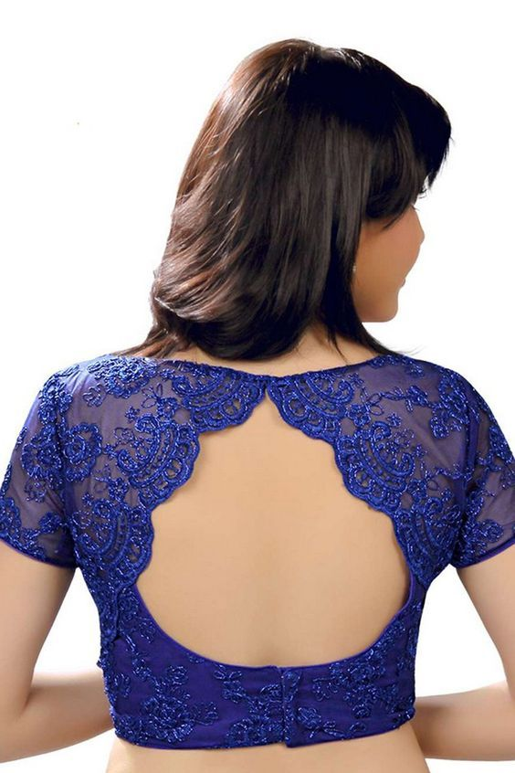 6. Royal Blue Designer Blouse back design