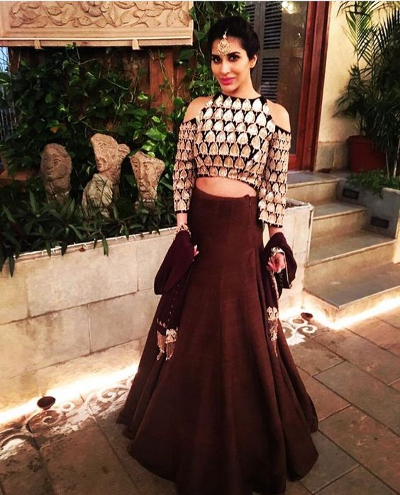 6.Brown Cold Sleeves Lehenga Blouse