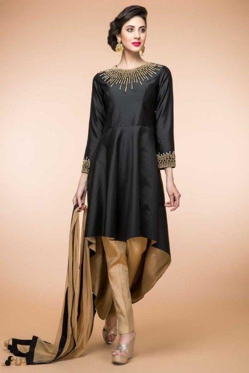 6.Black with Golden back side long chudi