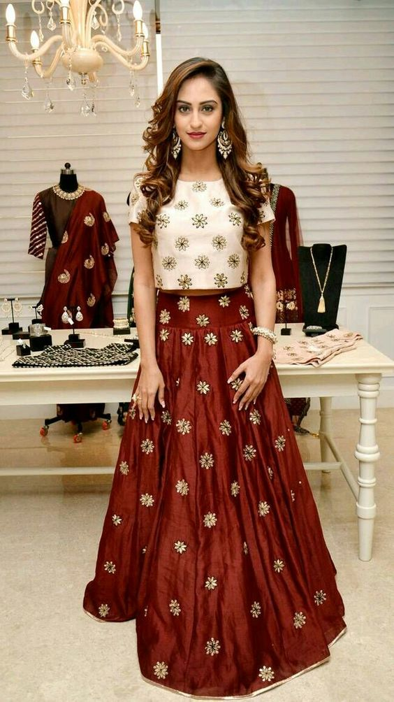 7.Simple high neck Lehnga blouse