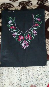 8. Black Top with Flowers and Leaves Embroidery Design